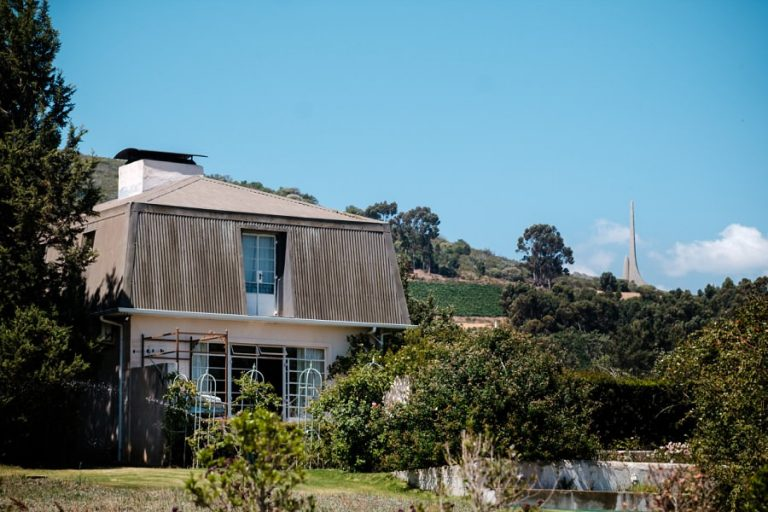 the Wedding venue, Belair in paarl with the National AFrikaanse taal monument in the background