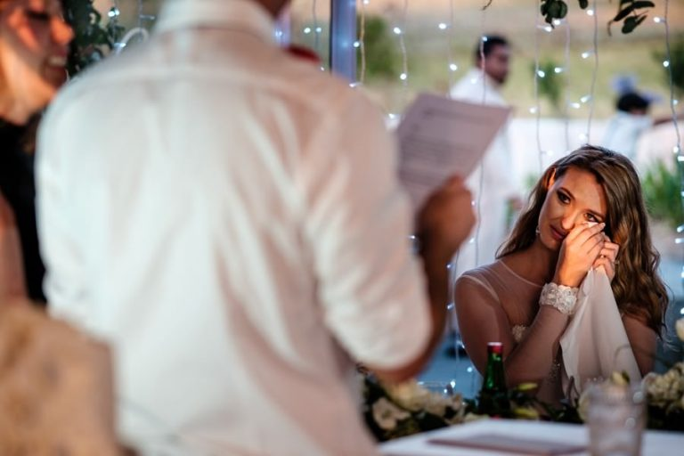 a tearful moment during the speeches at this Belair Wedding