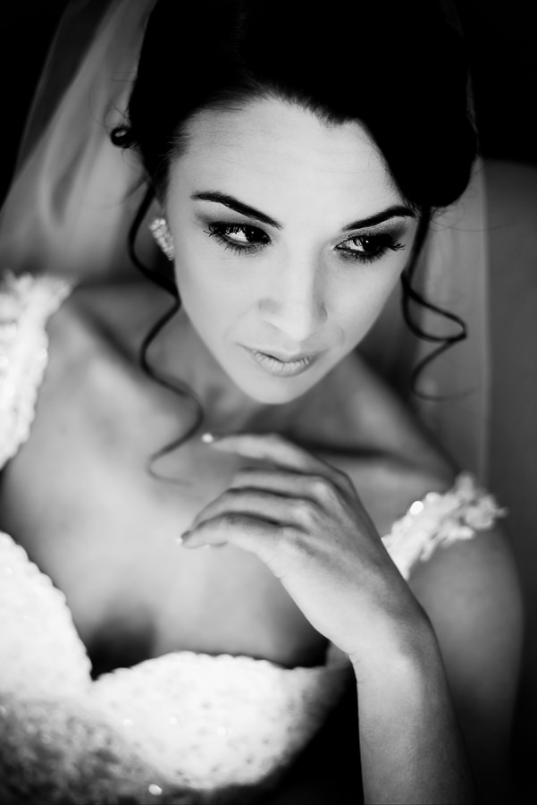 a beautiful black and white bride photo