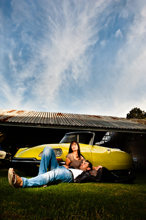 make use of a vintage car for this engagement photo