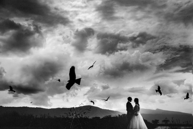 a fine art photo of a bridal couple and birds in Tanzania