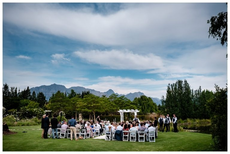 the wedding ceremony with stunning mountain views