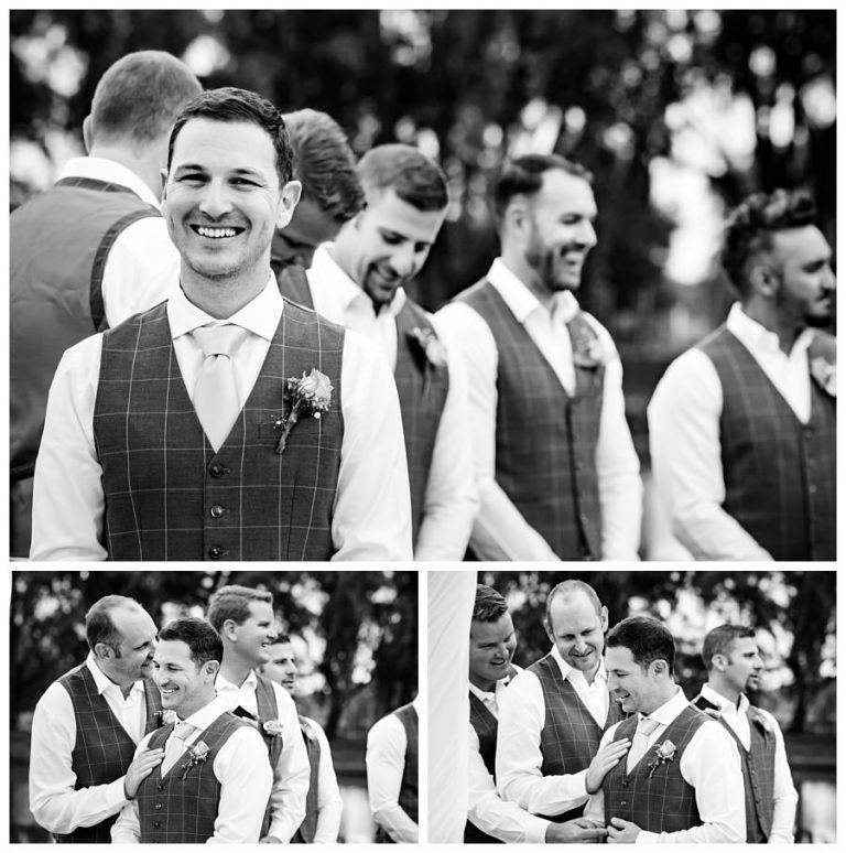 the groom being encouraged by his groomsmen just before the ceremony