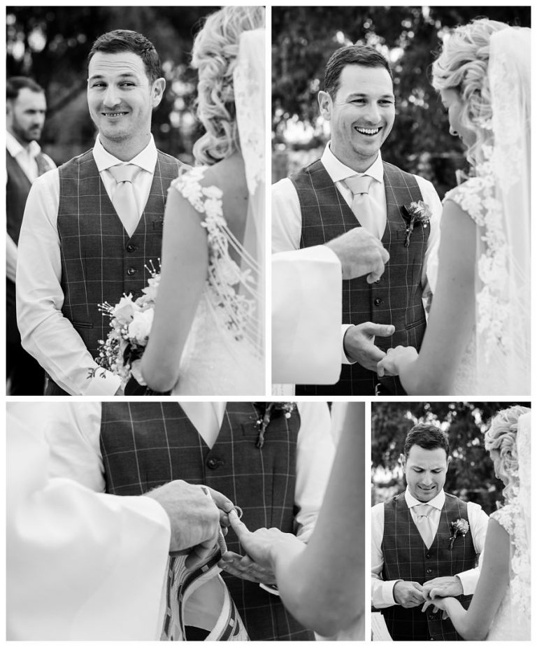 a few moments of the groom during the ceremony