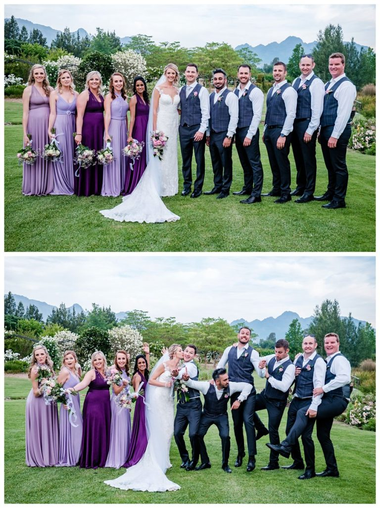 the wedding party with some joking around