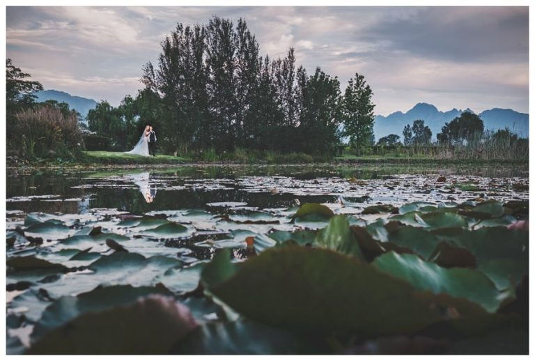 using the lilies on the pond for this bridal couple photo