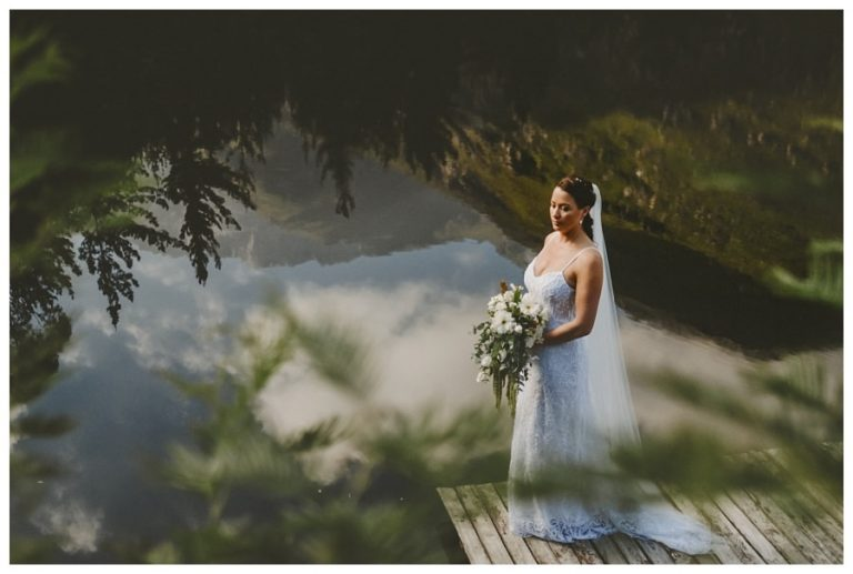bride portrait nature reflections