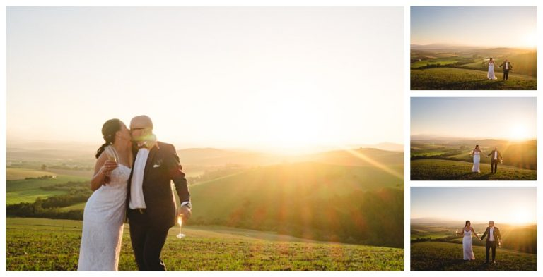 beautiful sunset photos of the bridal couple