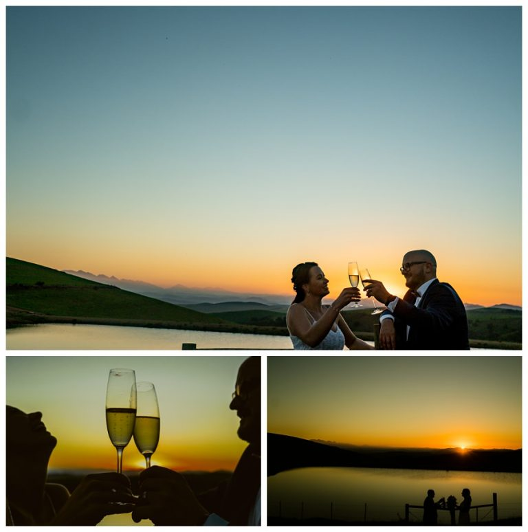 beautiful sunset photos of the bride and groom drinking a glass of Champaign