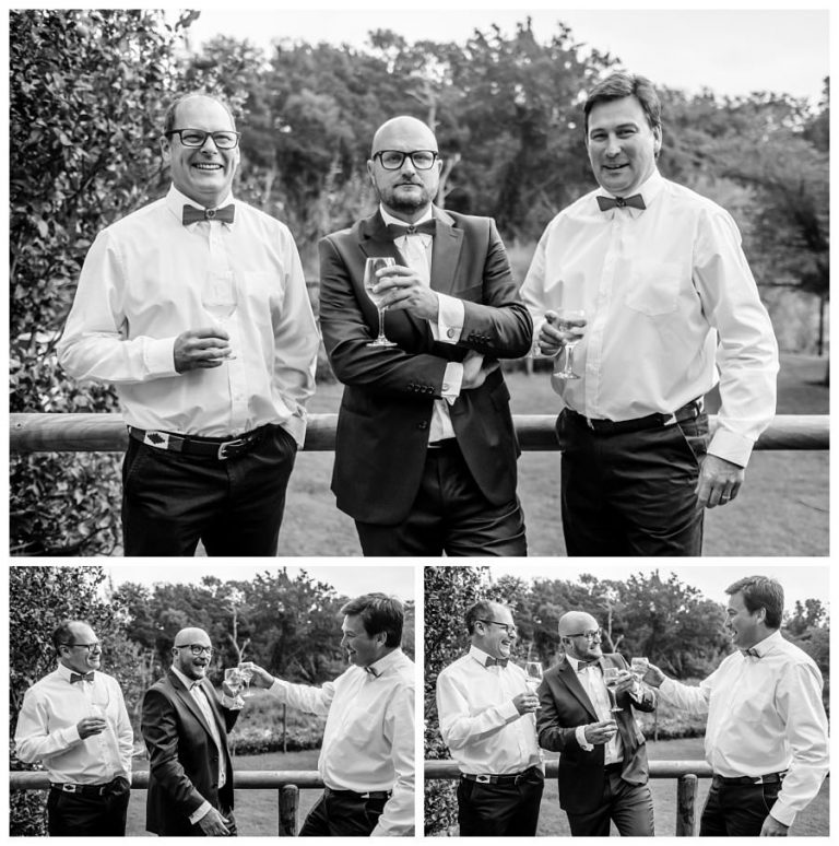 groom and groomsmen drinking wine