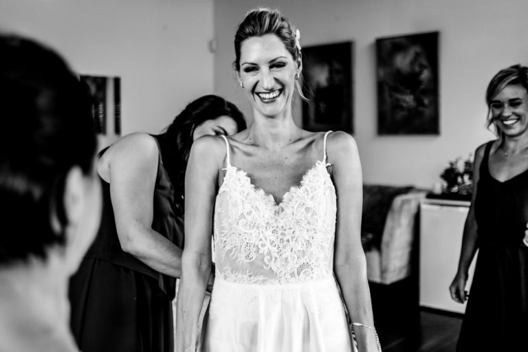 the comical moment during the bride preparations