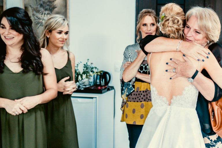 an emotional moment during the bride preparations