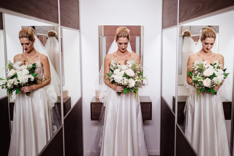 using reflections for this bridal portrait