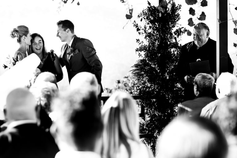 an emotional moment during the wedding ceremony