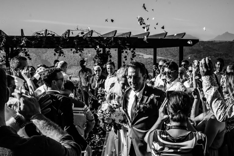 flower petals after the wedding ceremony