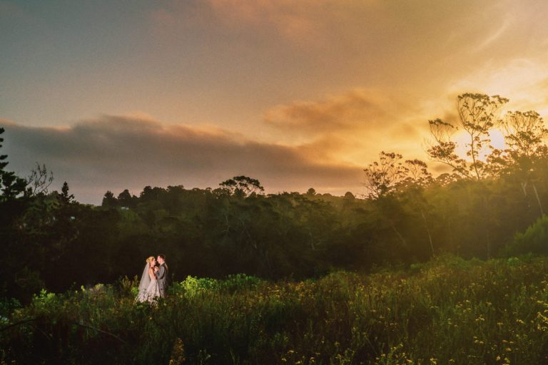 the amazing sunset light as backdrop for this bridal couple image