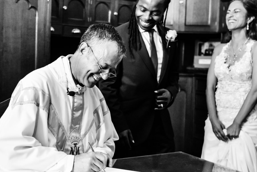 the groom checks if the pastor spelled his name correct leading to a comical moment