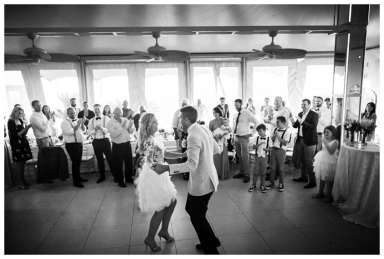 The couple opens the dance floor