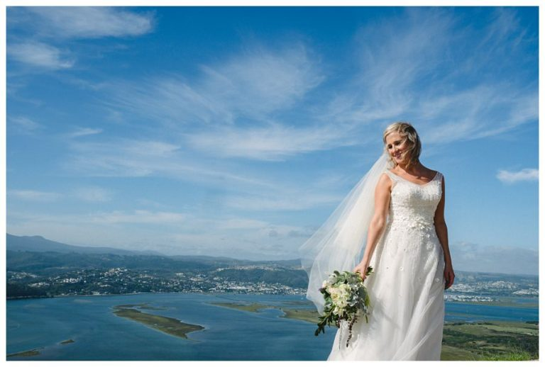 a bridal portrait with a stunning views