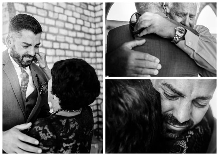 emotional moments between the groom and his parents