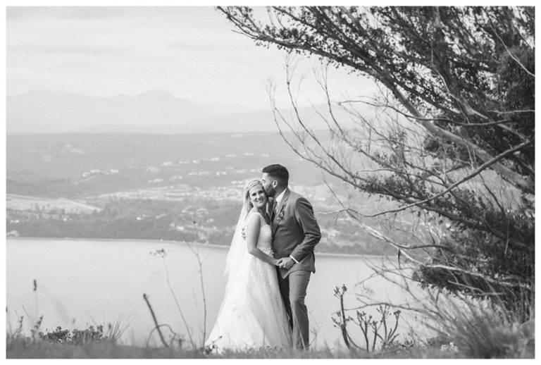 a black and white sweet bridal couple photo
