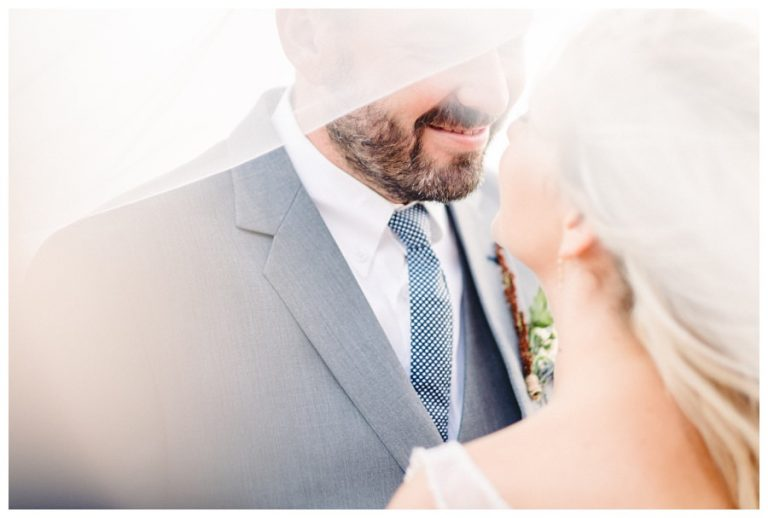 a romantic wedding photo of the bride and groom